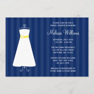 Modern Navy Blue and Yellow Gown Bridal Shower Invitation starting at 2.51