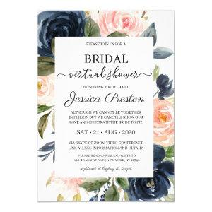 Modern Navy Blush Floral Virtual Bridal Shower Invitation starting at 2.40