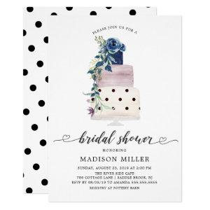 Modern Navy & Plum Floral Cake Bridal Shower Invitation starting at 2.40