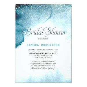 Modern ocean blue ombre watercolor Bridal Shower Invitation starting at 2.51
