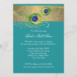 Modern Peacock Feathers Faux Jewel Bridal Shower starting at 3.35
