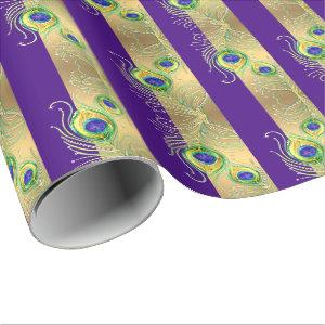 Modern Peacock Feathers Faux Jewel Striped Hearts Wrapping Paper starting at 31.40