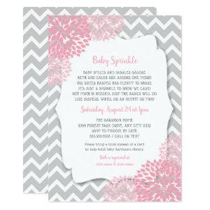 Modern Pink Dahlia Baby sprinkle invites starting at 2.51