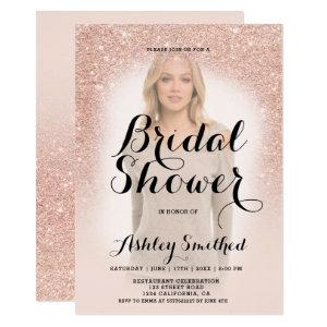 Modern rose gold glitter ombre photo bridal shower invitation starting at 2.40
