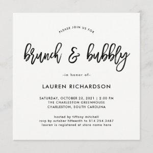 Modern Script | Black and White Brunch and Bubbly Invitation starting at 2.51