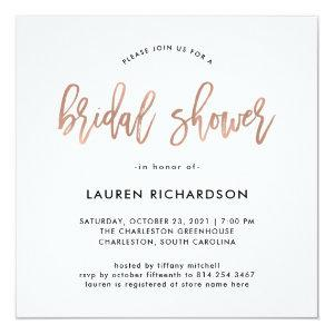 Modern Script | Rose Gold Bridal Shower Invitation starting at 2.51