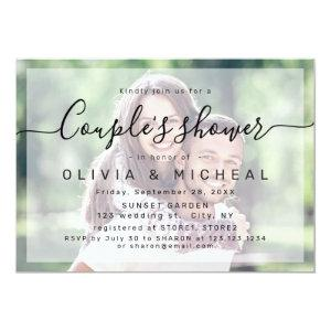 Modern simple elegant script photo couples shower invitation starting at 2.56