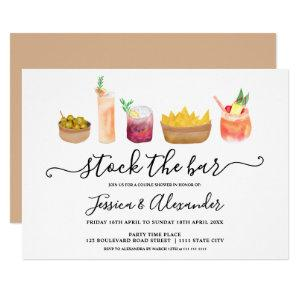 Modern snacks cocktails watercolor couples shower invitation starting at 2.40