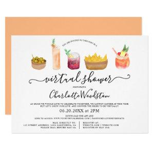 Modern snacks cocktails watercolor virtual shower invitation starting at 2.40
