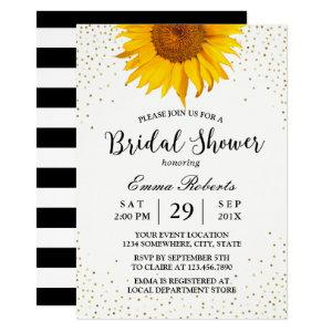 Modern Sunflower Gold Confetti Dots Bridal Shower Invitation starting at 2.45
