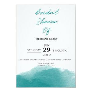 Modern Teal Blue Watercolor Bridal Shower Invite starting at 2.35
