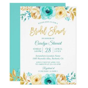 Modern Tiffany Gold Botanical Floral Bridal Shower Invitation starting at 2.40