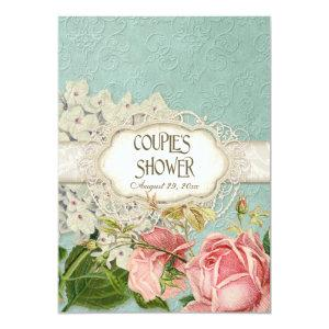 Modern Vintage Lace Tea Stained Hydrangea n Roses Invitation starting at 2.66