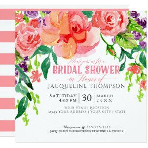 Modern Watercolor Floral Coral Pink Roses Lavender Invitation starting at 2.51