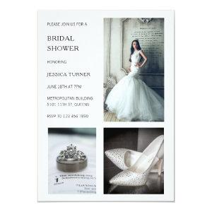 Modern White Photo Collage Bridal Shower Invitation starting at 2.51