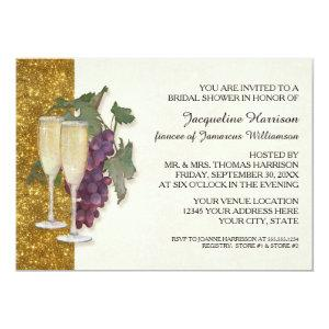 Modern Wine Champagne Glass Theme Bridal Shower Invitation starting at 2.66