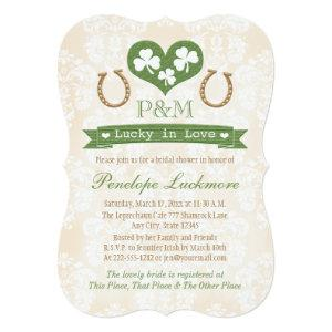 Monogrammed Shamrock and Horseshoes Bridal Shower Invitation starting at 2.91