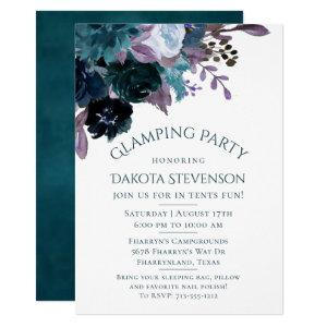 Moody Boho | Teal Plum Purple Floral Glamp Party Invitation starting at 2.40