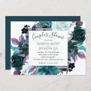 Moody Boho | Teal Purple Dark Floral Couple Shower Invitation starting at 2.40