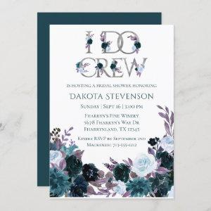 Moody Floral | Teal Purple I Do Crew Bridal Shower Invitation starting at 2.40