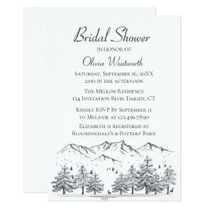Mountain Bridal Shower Trees Nature Black Gray Invitation starting at 2.26