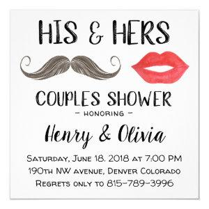 Mustache and Lips Couples Shower invitation starting at 2.30
