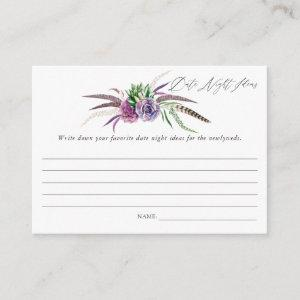 Mystical Succulents Bridal Shower Date Night Ideas Enclosure Card starting at 0.35
