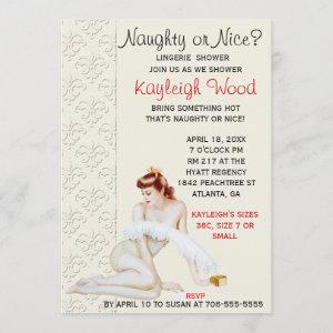 Naughty or Nice Lingerie Shower Invitation starting at 2.82