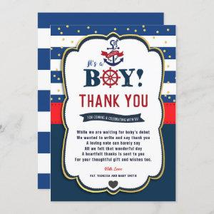 Nautical Ahoy Red Navy Baby Shower Thank You Card starting at 2.40