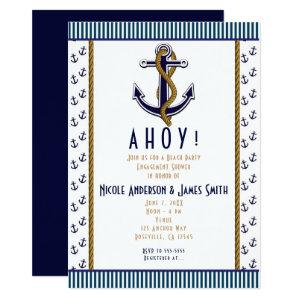 Nautical Anchor Blue and White Striped Invitation starting at 2.21