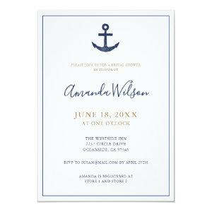 Nautical Anchor Blue White Gold Bridal Shower Invitation starting at 2.51