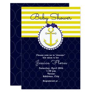 Nautical Anchor Blue Yellow Baby Shower Invitation starting at 2.56