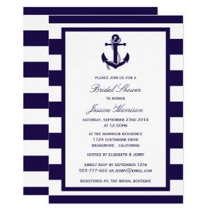 Nautical Anchor Navy Stripe Bridal Shower Invitation starting at 2.40