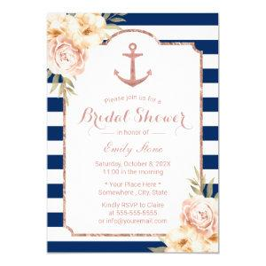 Nautical Anchor Vintage Floral Navy Bridal Shower Invitation starting at 2.40