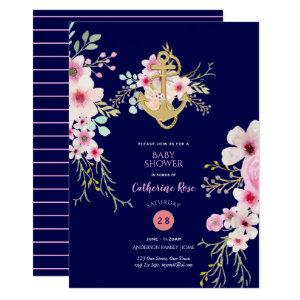 Nautical Baby Shower Invite Navy Blue Pink Flora starting at 2.51