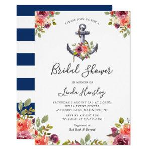 Nautical Bridal Shower Navy Stripes Anchor Floral Invitation starting at 2.30