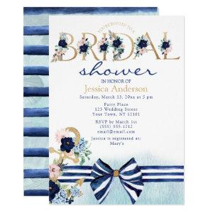 Nautical Floral Royal Blue and Gold Bridal Shower Invitation starting at 2.55