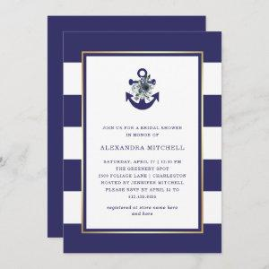 Nautical Flowers   Navy Blue Floral Bridal Shower Invitation starting at 2.66