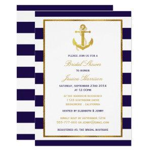 Nautical Gold Anchor Navy Stripe Bridal Shower Invitation starting at 2.40