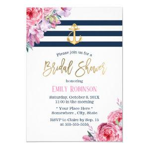 Nautical Gold Anchor Vintage Floral Bridal Shower Invitation starting at 2.45