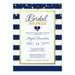 Nautical Gold Navy Blue Stripes Bridal Shower Invitation starting at 2.05