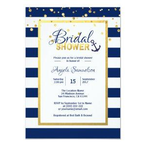 Nautical Gold Navy Blue Stripes Bridal Shower Invitation starting at 2.15