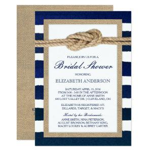 Nautical Knot Navy Stripes Rustic Bridal Shower Invitation starting at 2.51