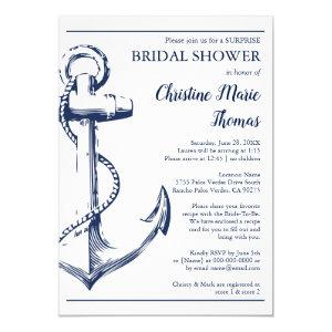 Nautical Navy Anchor Surprise Bridal Shower Recipe Invitation starting at 2.40