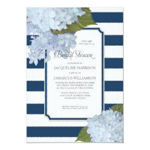 Nautical Navy Blue Hydrangea Modern Bridal Shower Invitation starting at 2.66