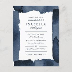 Nautical Navy Blue Watercolor Bridal Shower Invitation Postcard starting at 1.70