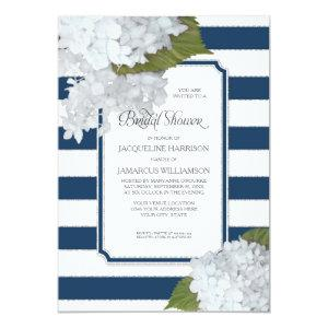Nautical Navy White Hydrangea Modern Bridal Shower Invitation starting at 2.66