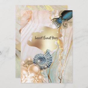 Nautical shell octopus marble gold watercolor invitation starting at 2.40