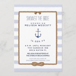 Nautical Shower the Bride Infinity Knot Blue Invitation starting at 2.66