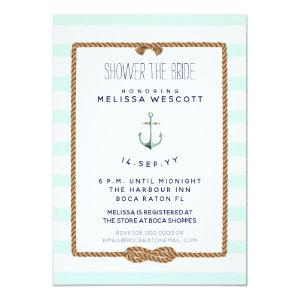 Nautical Shower the Bride Infinity Knot Sea Foam Invitation starting at 2.66